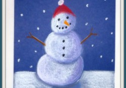 """Snowmen at Night"" Chalk Art! {Art Lesson Tutorial}"